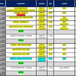 Programma Gare 17 e 18 Febbraio