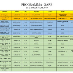 Programma gare 19 e 20 Gennaio