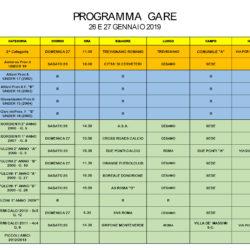 Programma gare 26 e 27 Gennaio