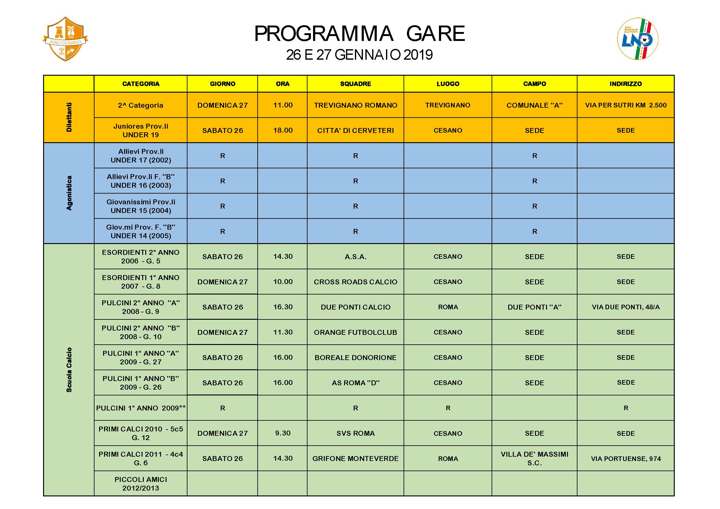 Programma gare 2019-01-26