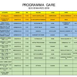 Programma gare 2 e 3 Marzo