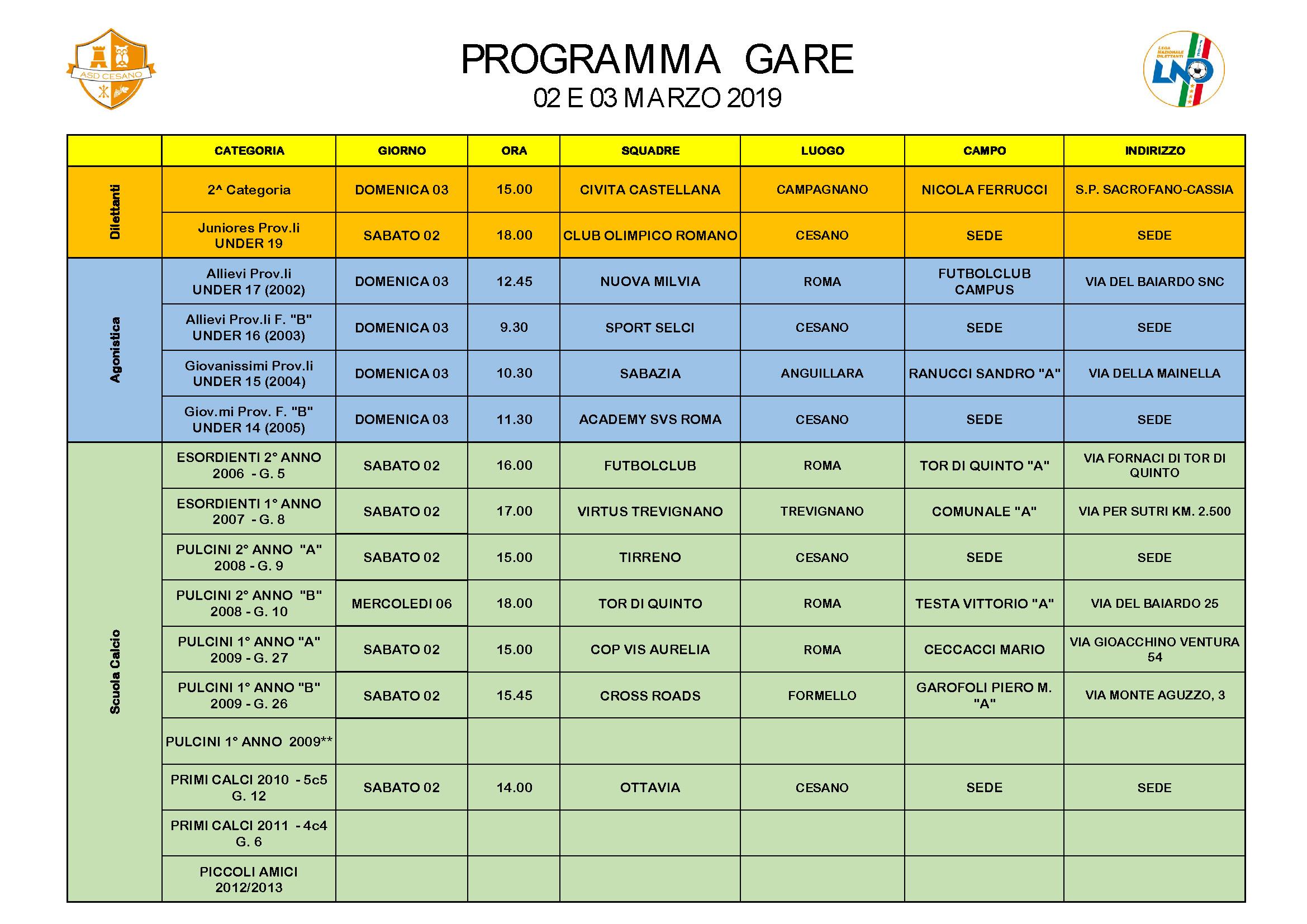 Programma gare 02-03-2019