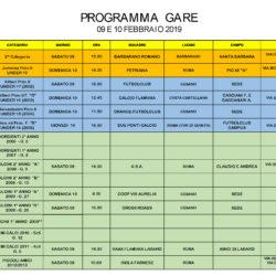 Programma Gare 9 e 10 Febbraio