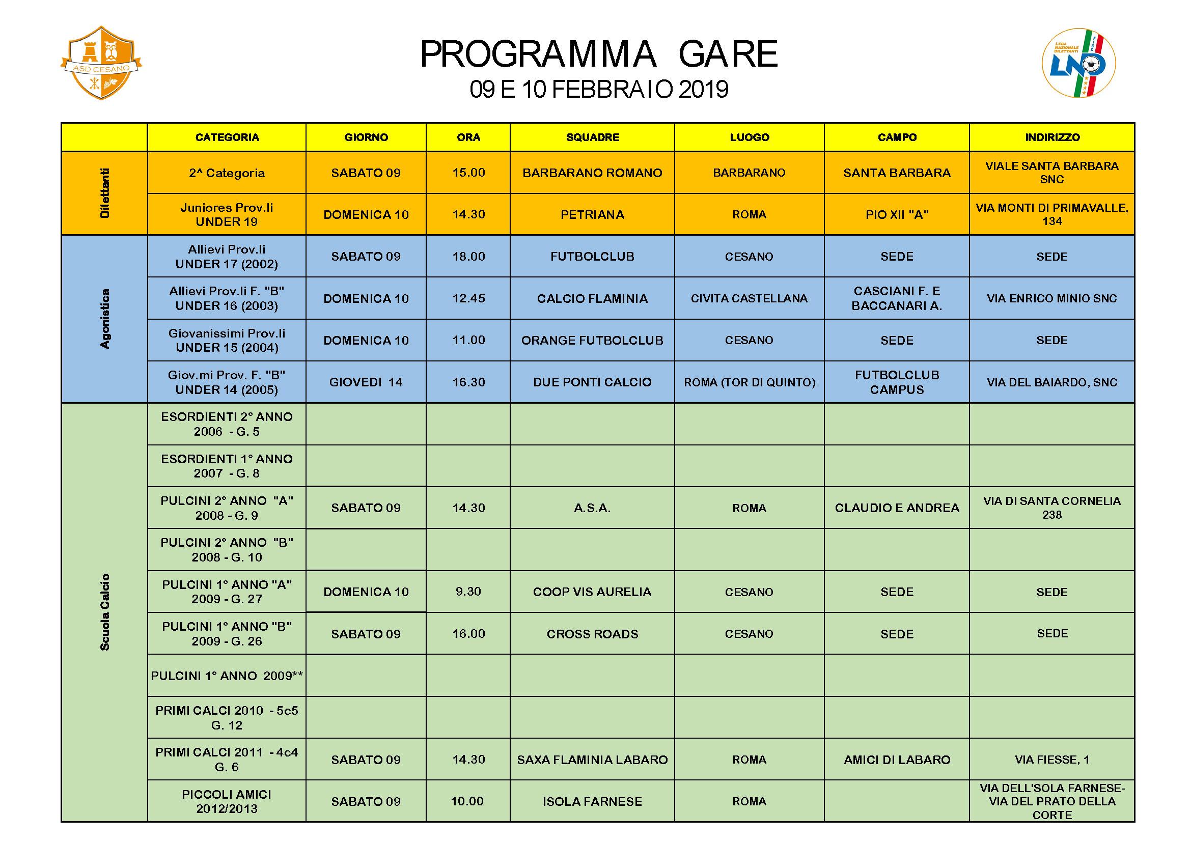 Programma gare 09-02-2019