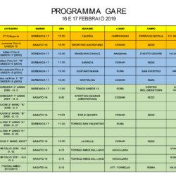 Programma gare 16 e 17 Febbraio