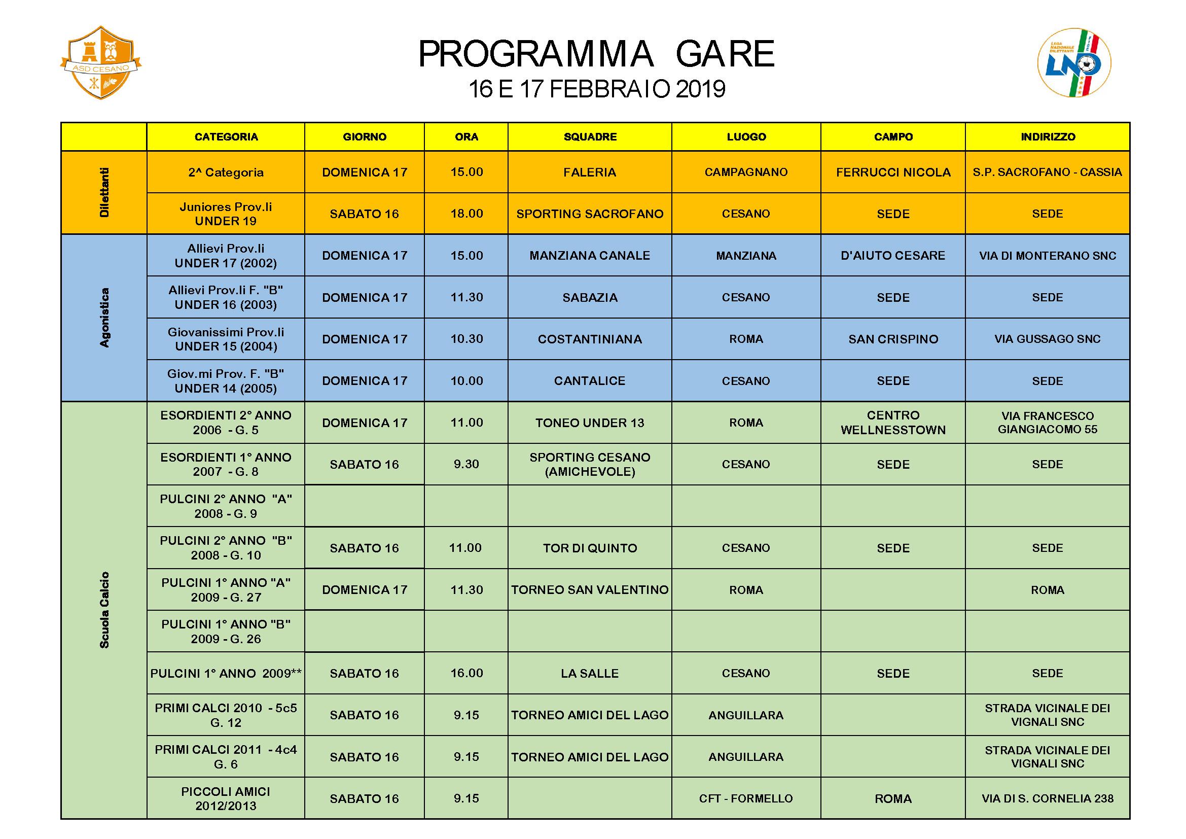 Programma gare 16-02-2019