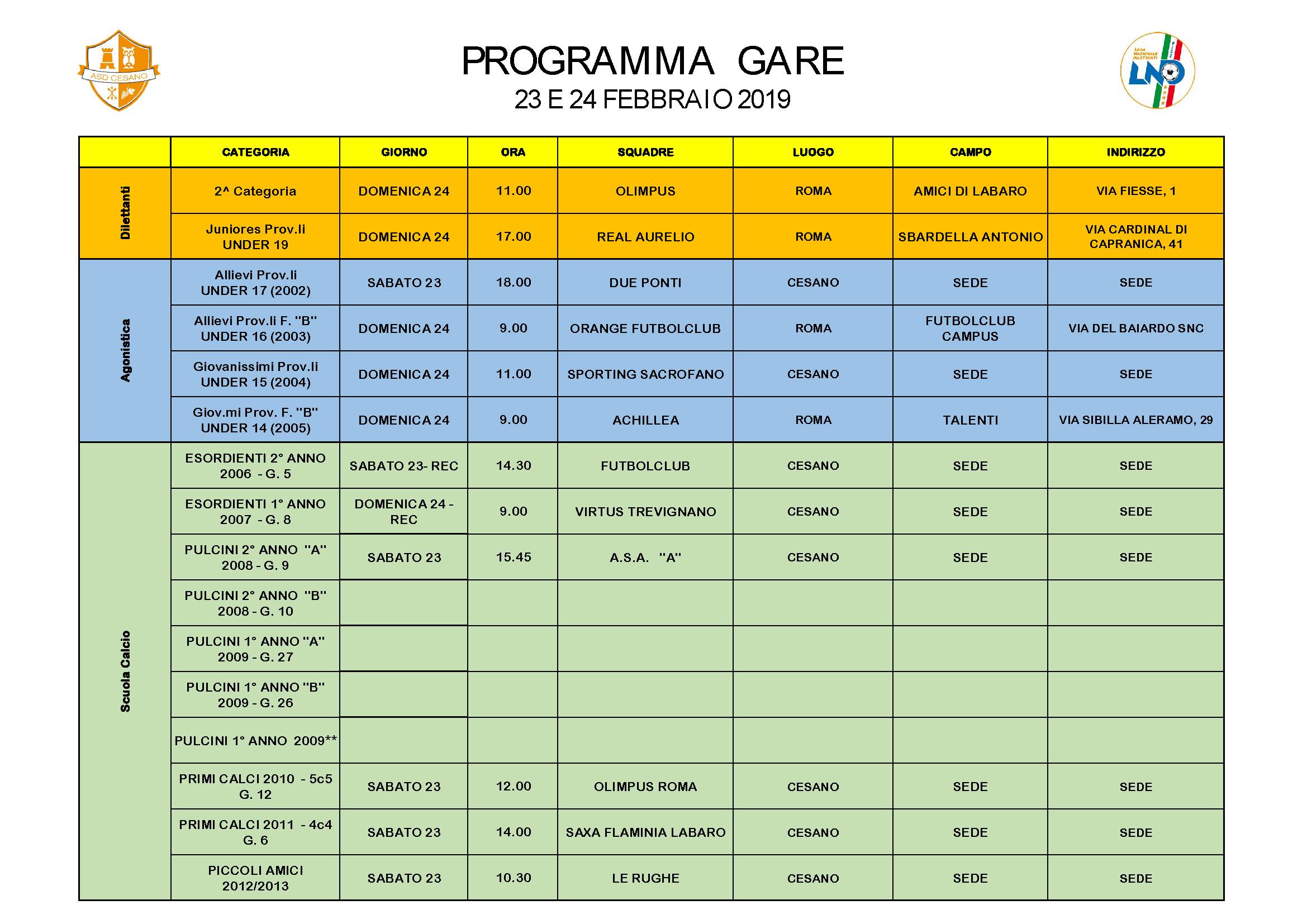 Programma gare 23-02-2019