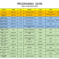 Programma gare 9 e 10 Marzo