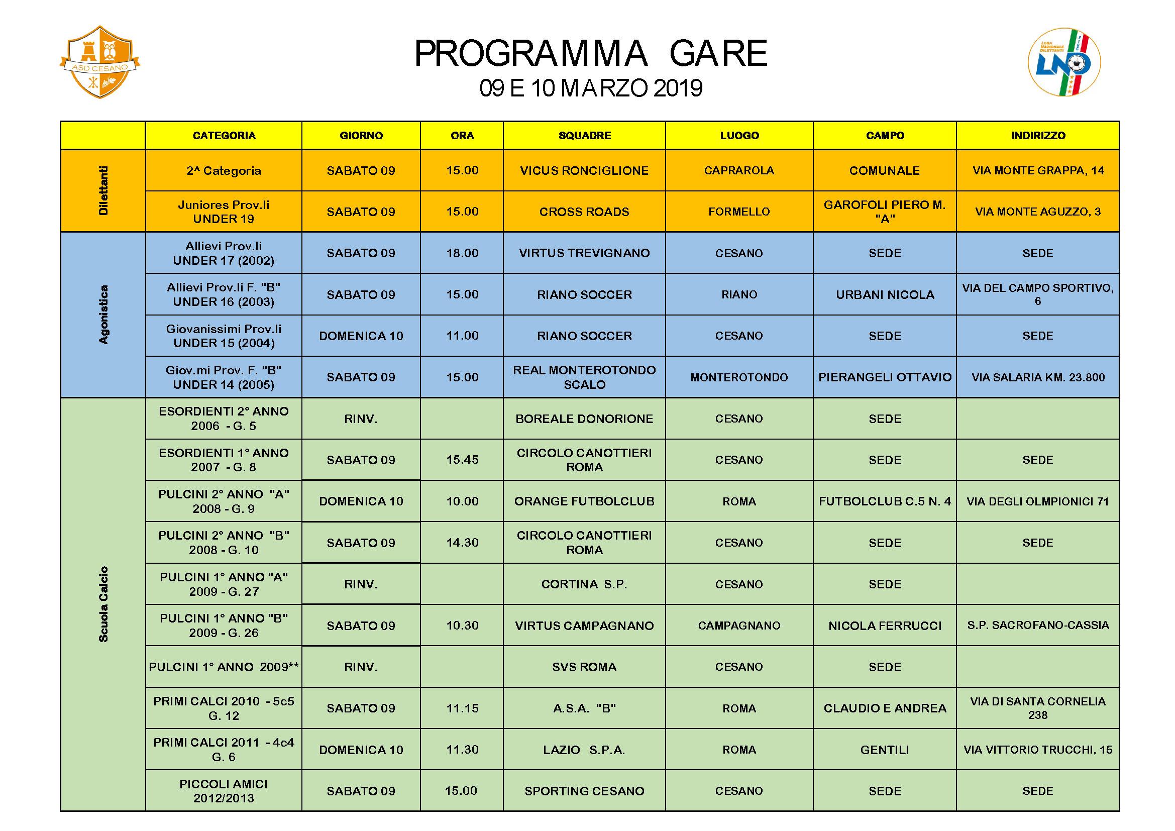 Programma gare 09-03-2019