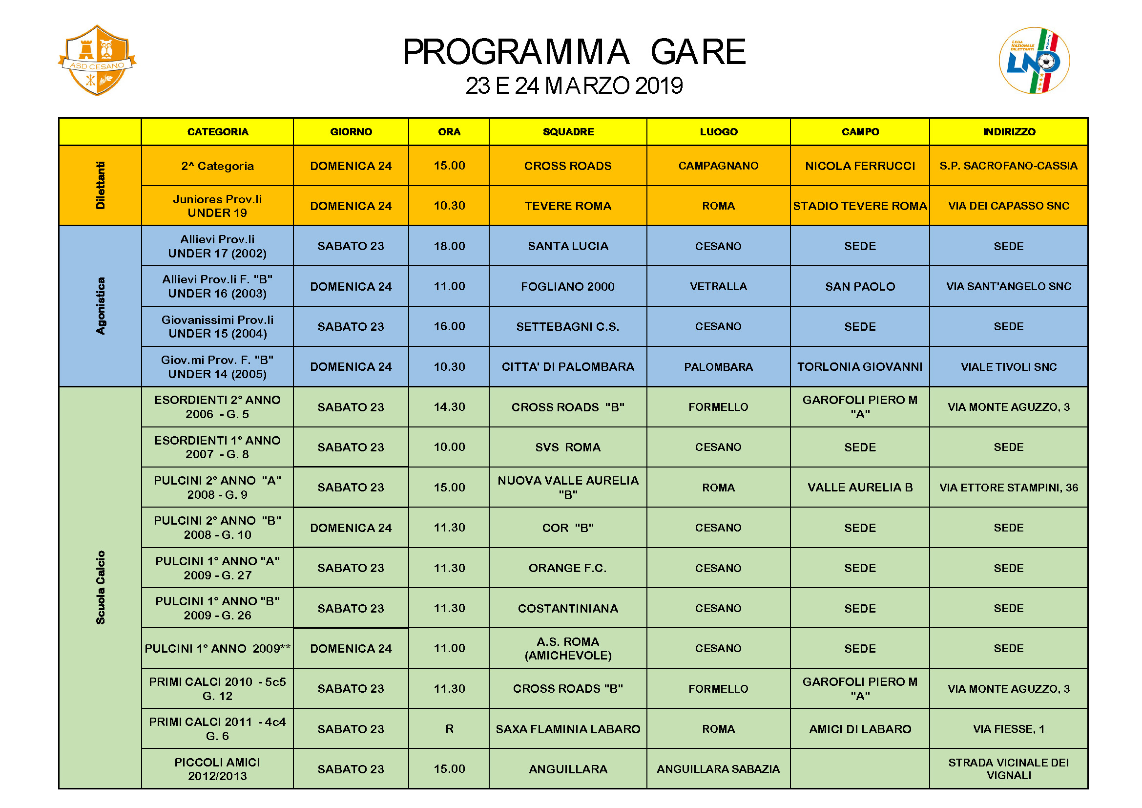 Programma gare 23-03-2019