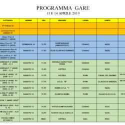 Programma gare 13 e 14 Aprile