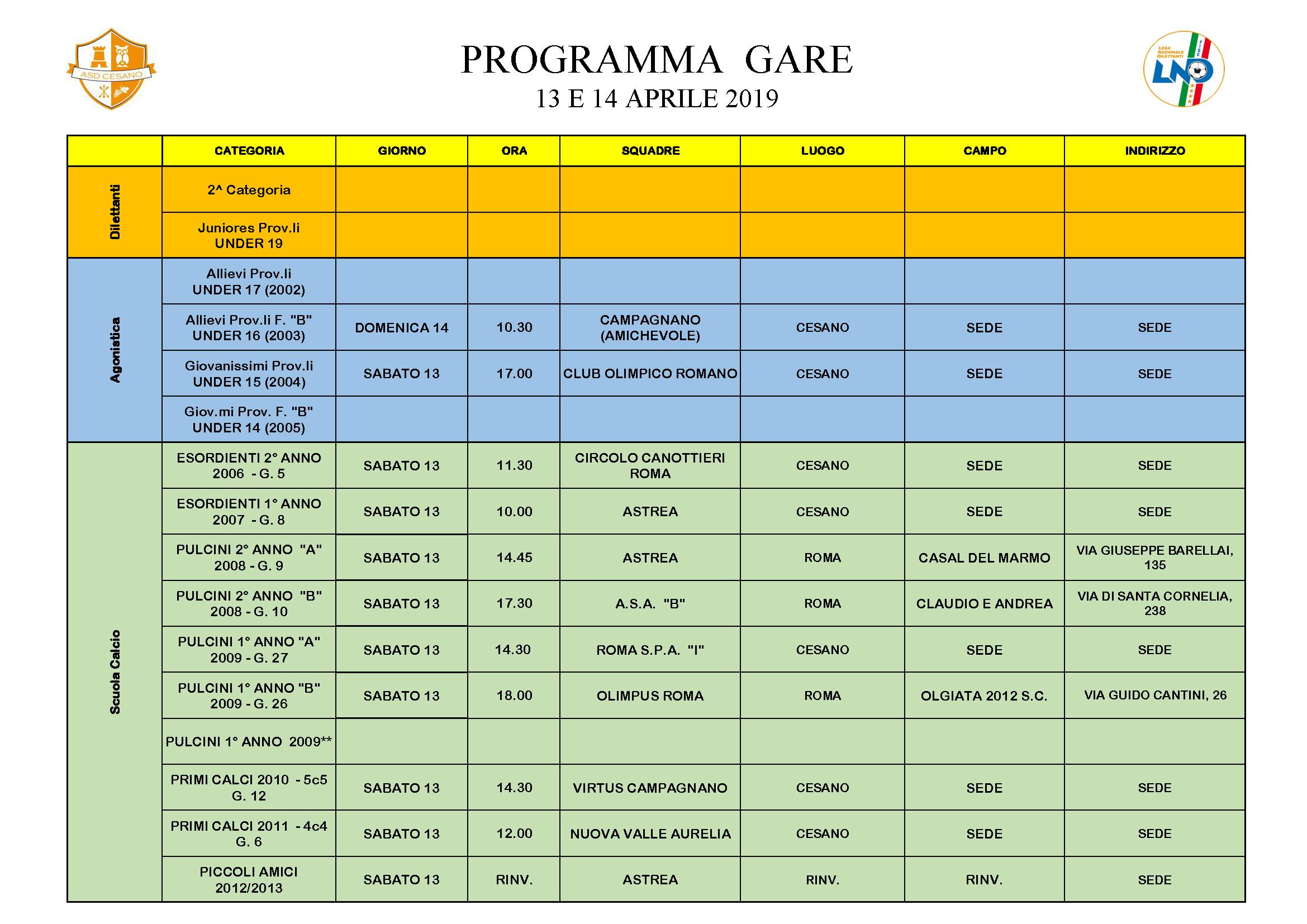 Programma gare 13-04-2019