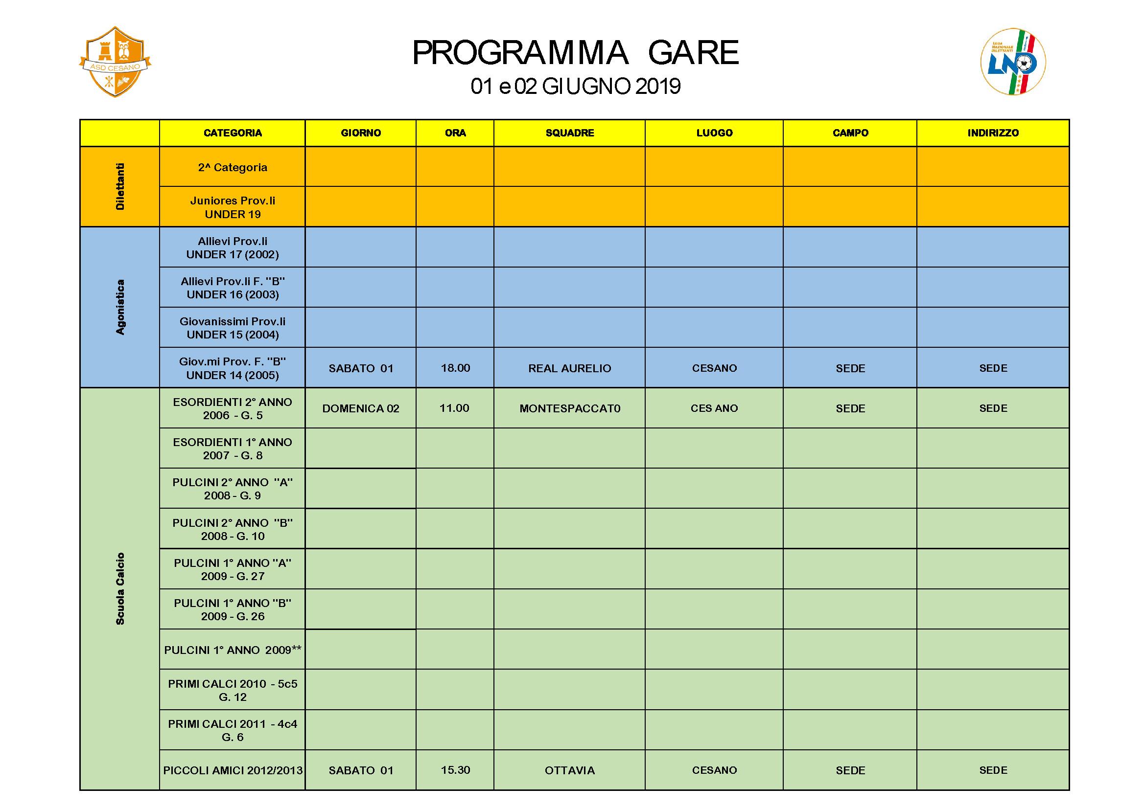 Programma gare 01-06-2019