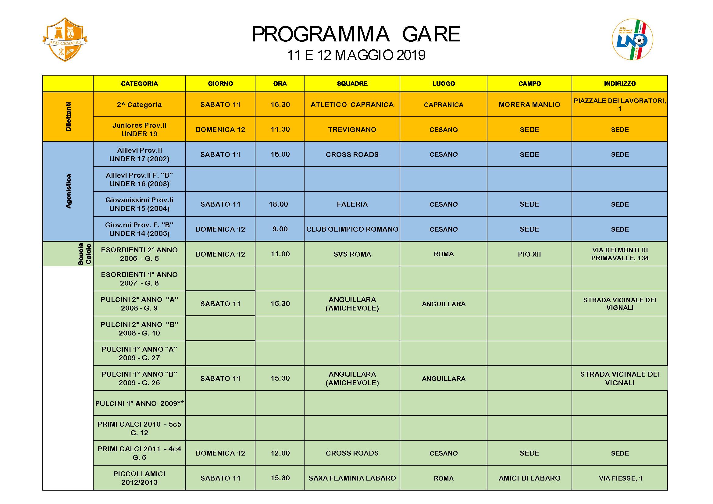 Programma gare 11-05-2019