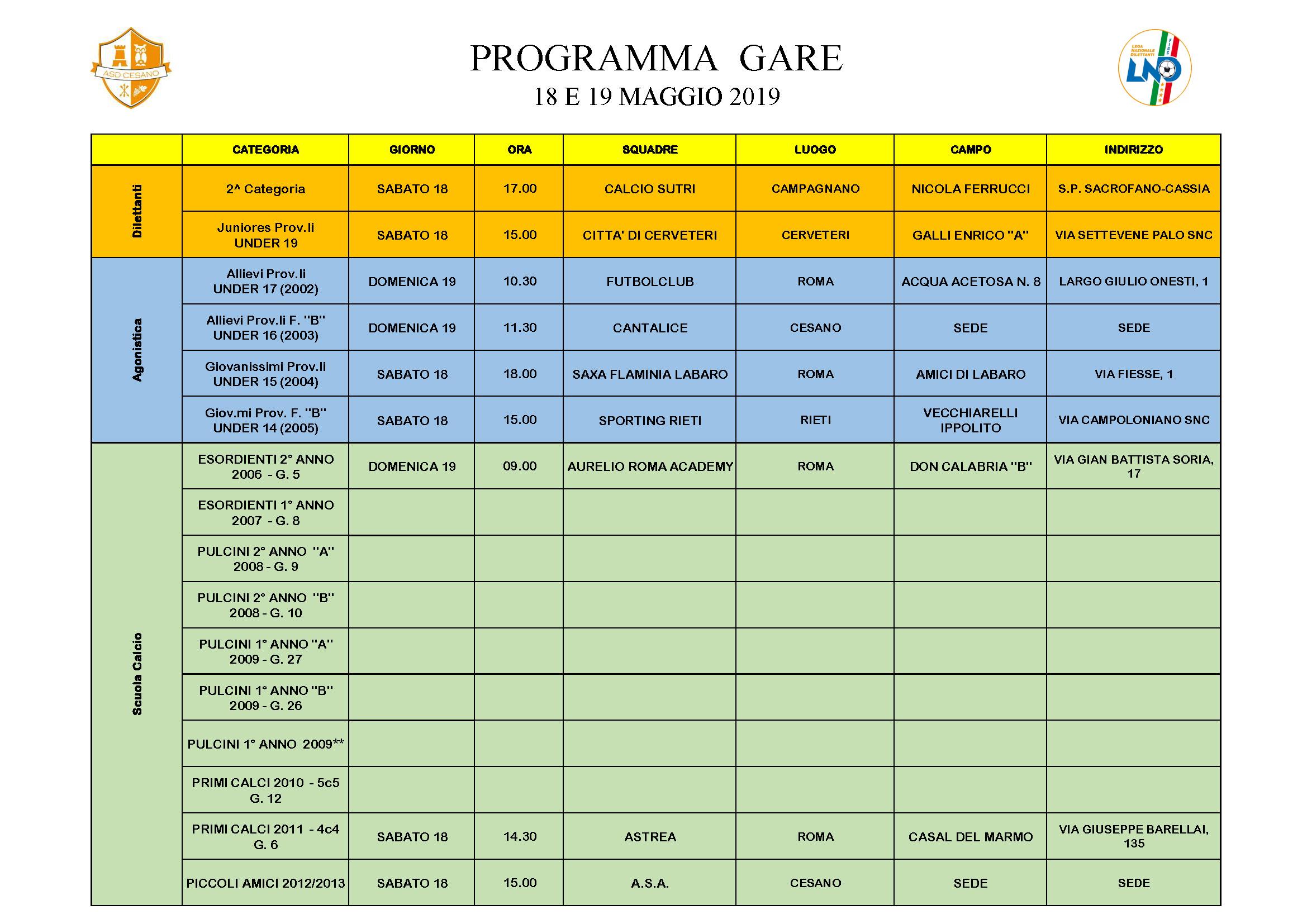 Programma gare 18-05-2019