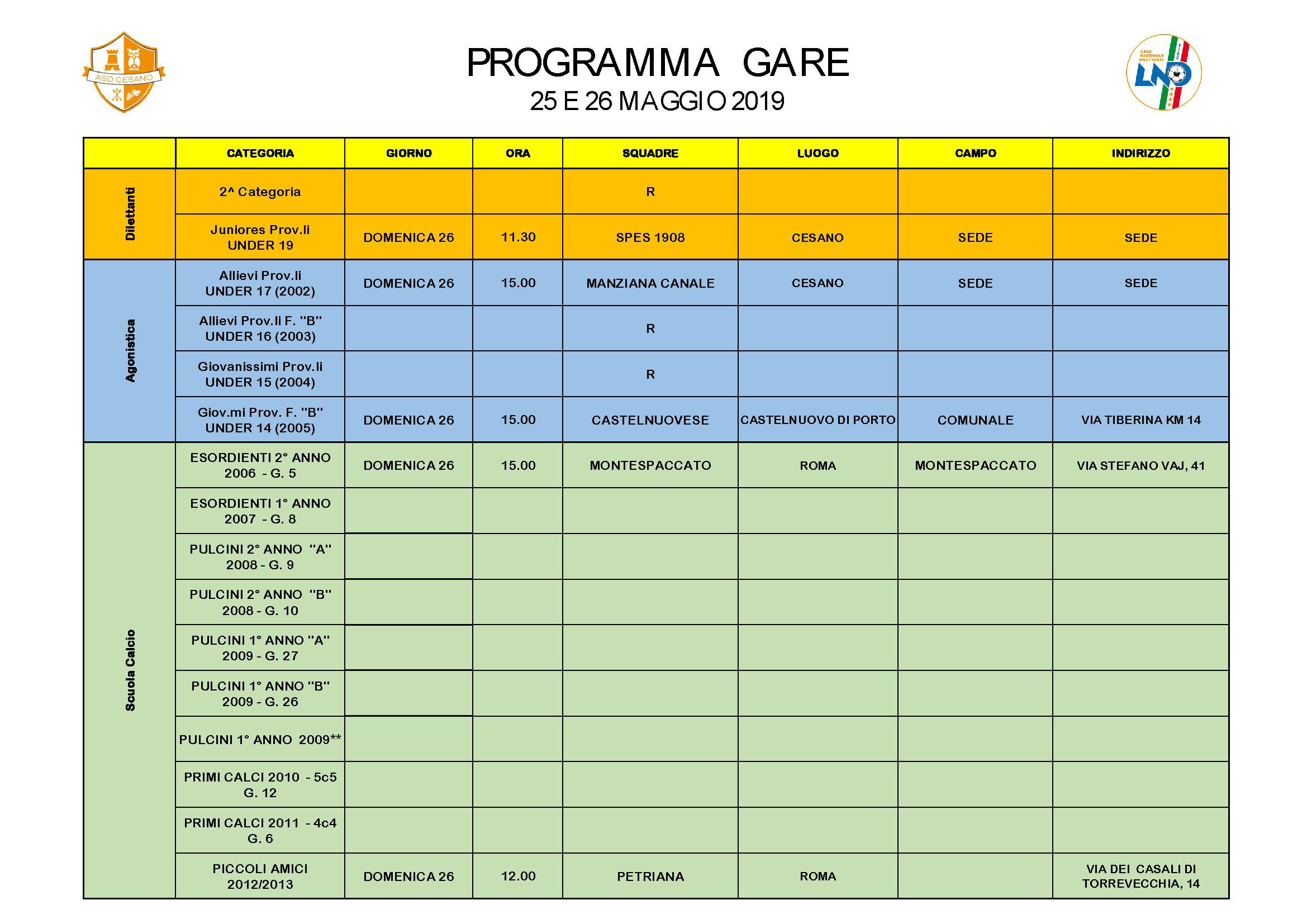 Programma gare 25-05-2019