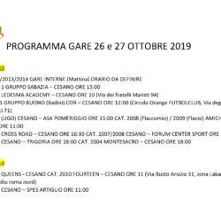 Programma Gare 26 e 27 Ottobre