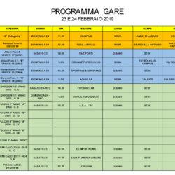 Programma gare 23 e 24 Febbraio