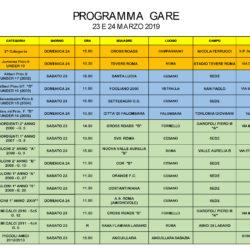 Programma gare 23 e 24 Marzo