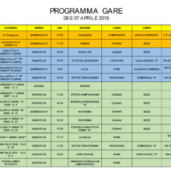 Programma gare 6 e 7 Aprile