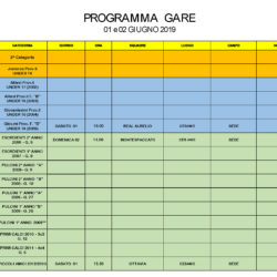 Programma Gare 1 e 2 Giugno