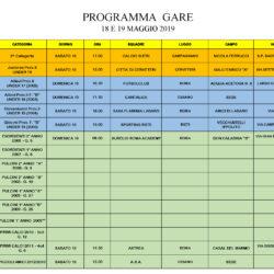 Programma Gare 18 e 19 Maggio